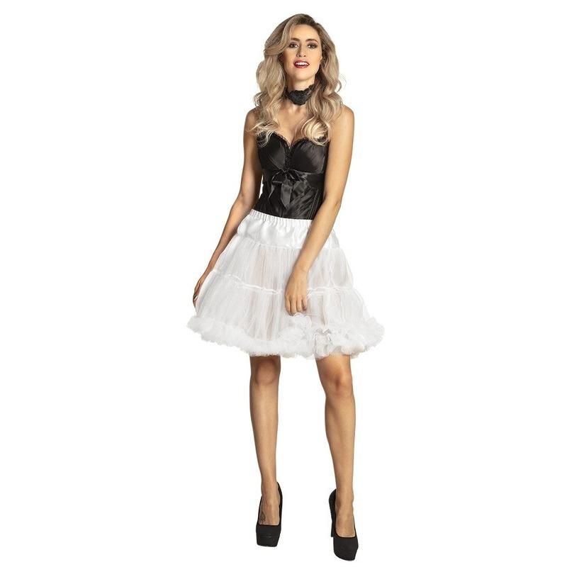 Witte verkleed petticoat rok voor dames 45 cm