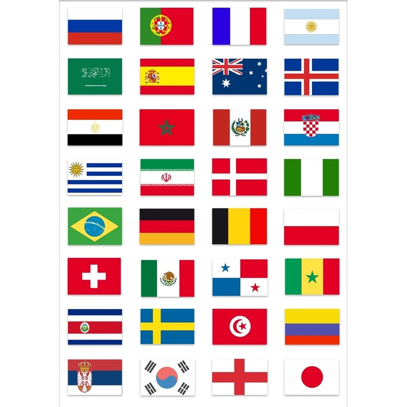 WK voetbal 2018 landen vlaggen pakket