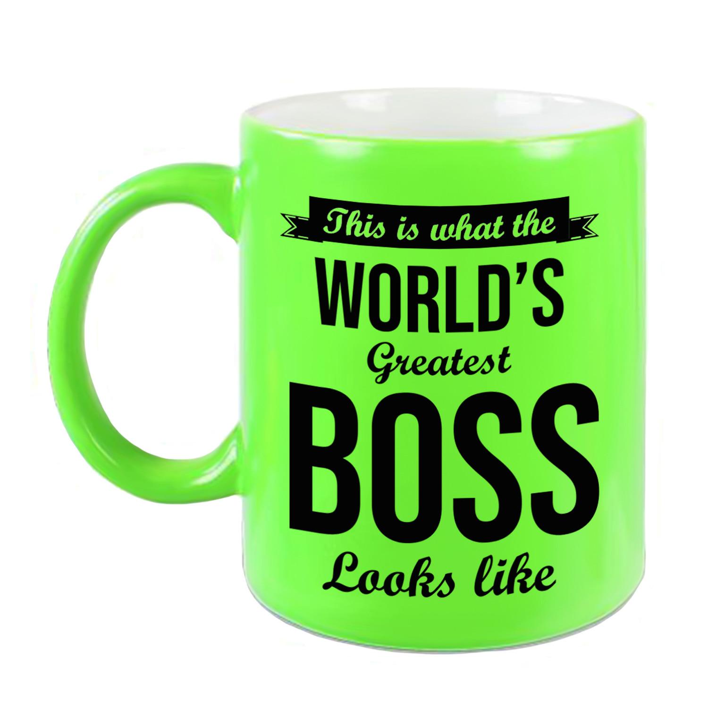 Worlds Greatest Boss cadeau koffiemok - theebeker neon groen 330 ml