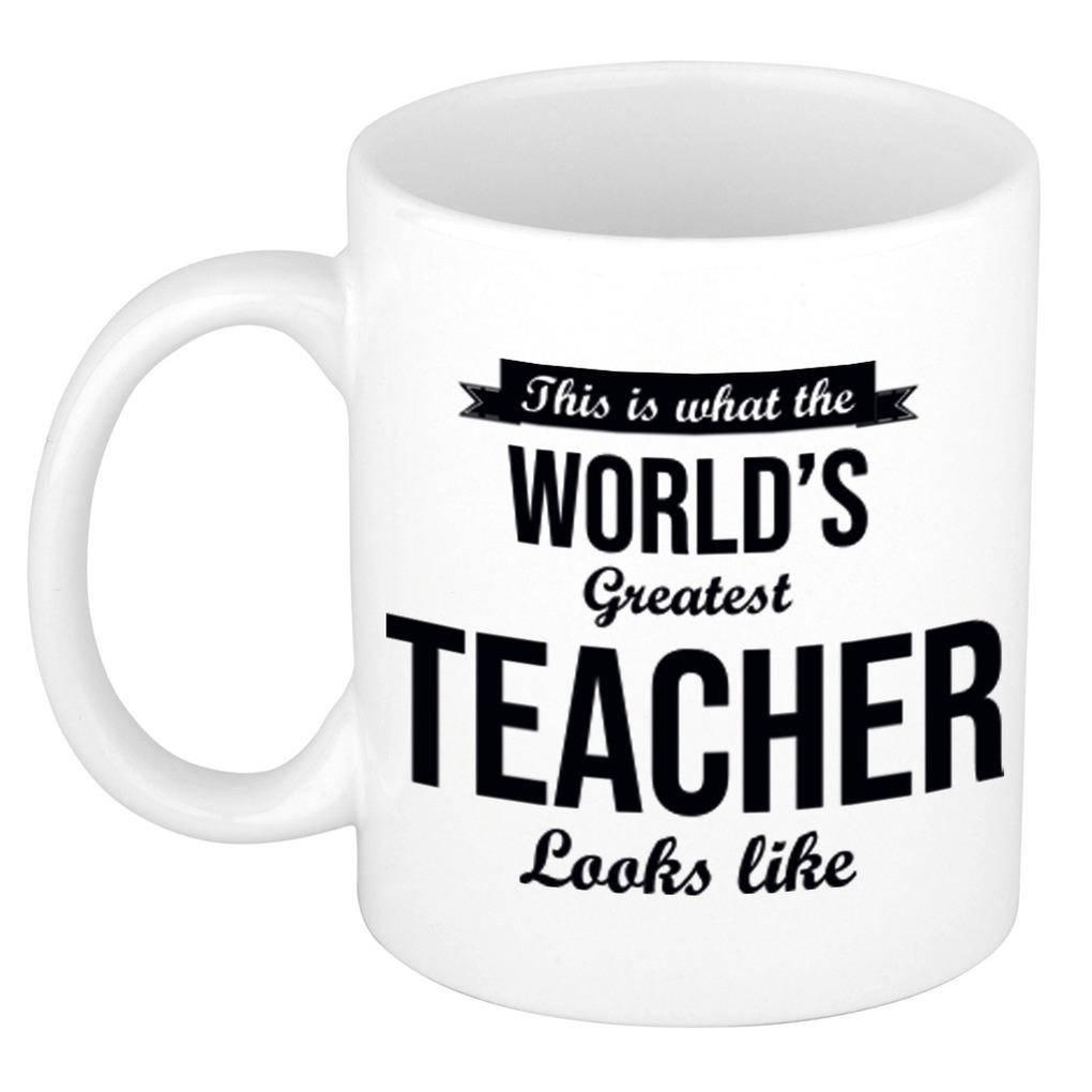 Worlds Greatest Teacher cadeau koffiemok - theebeker voor leraar - lerares 300 ml
