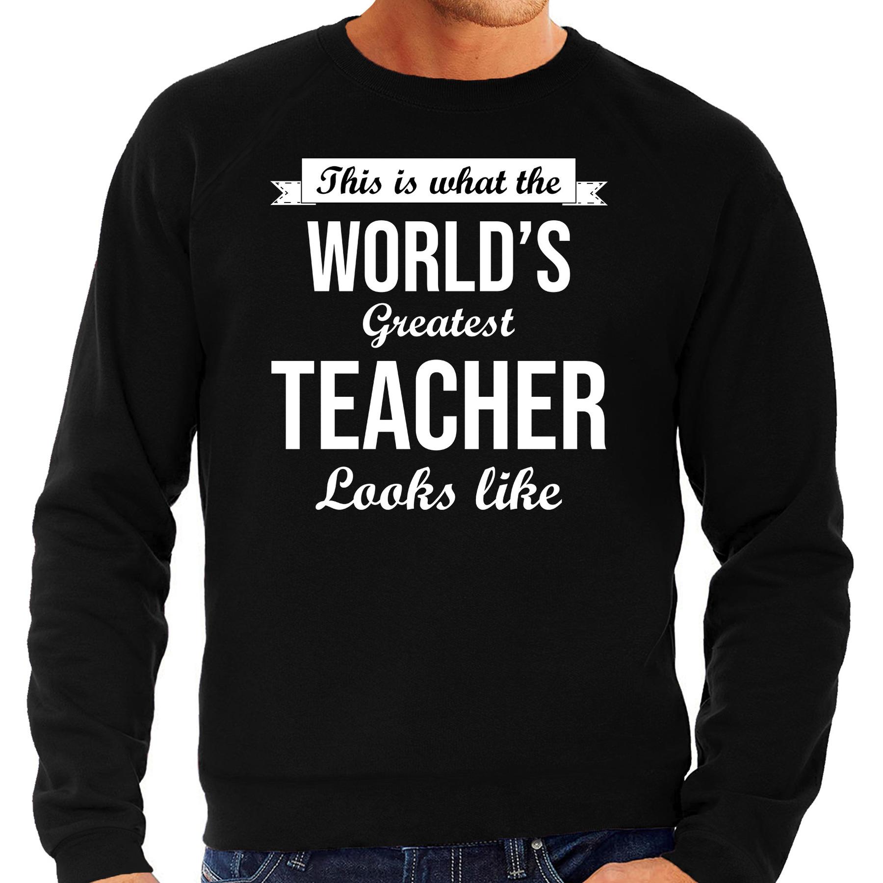 Worlds greatest teacher cadeau sweater zwart voor heren