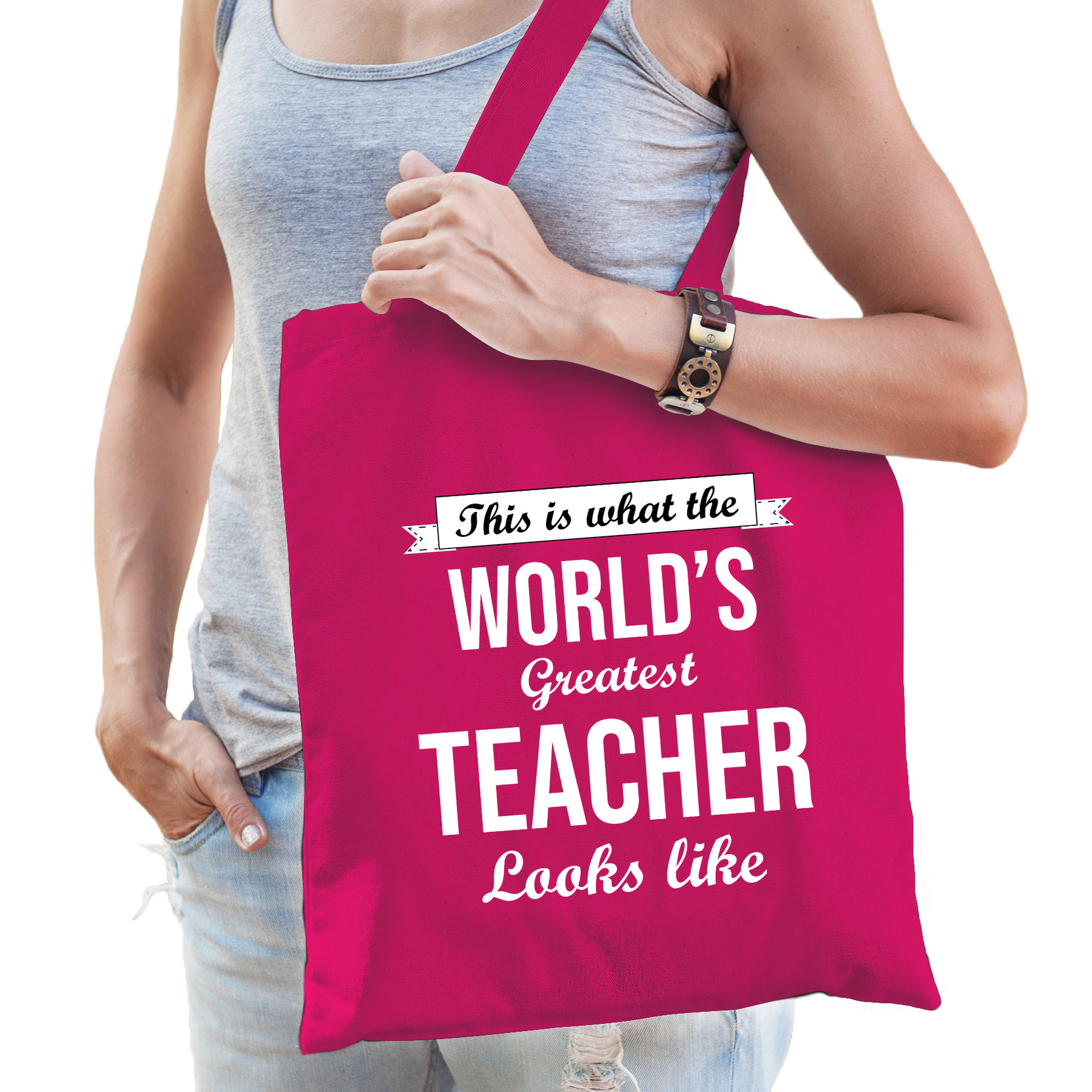 Worlds greatest TEACHER lerares cadeau tas roze voor dames