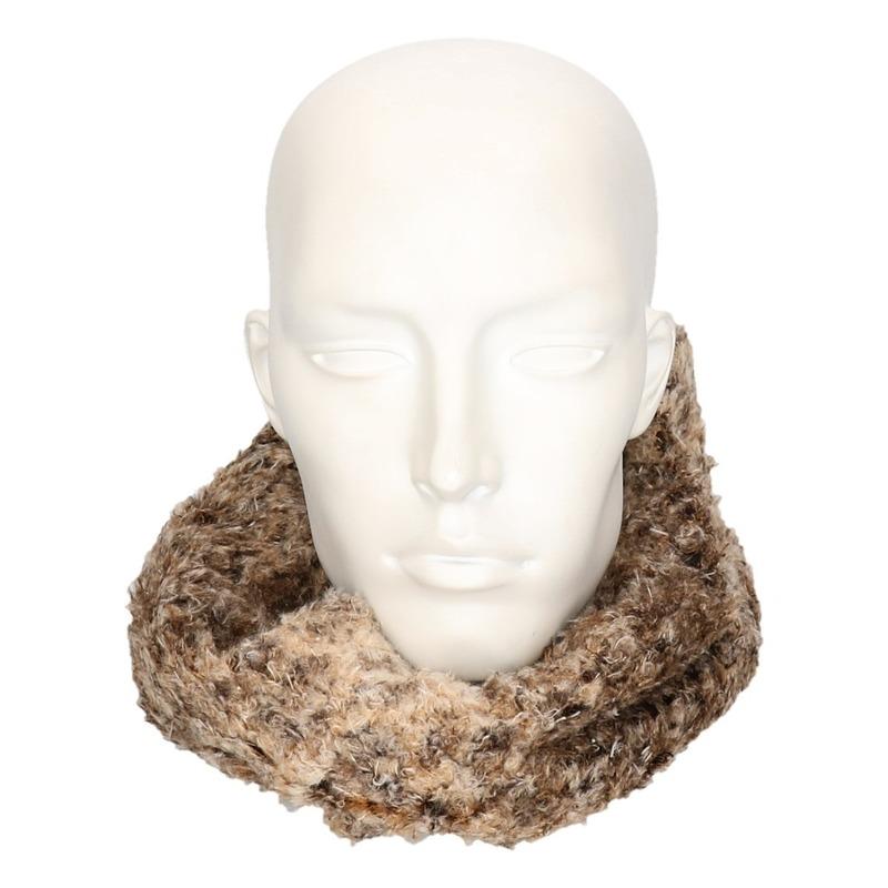 Zachte col sjaal bruin/luipaard voor volwassenen