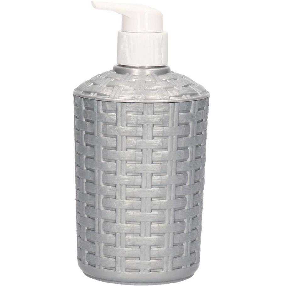 Zeep pompjes-dispensers zilver geweven 16 cm
