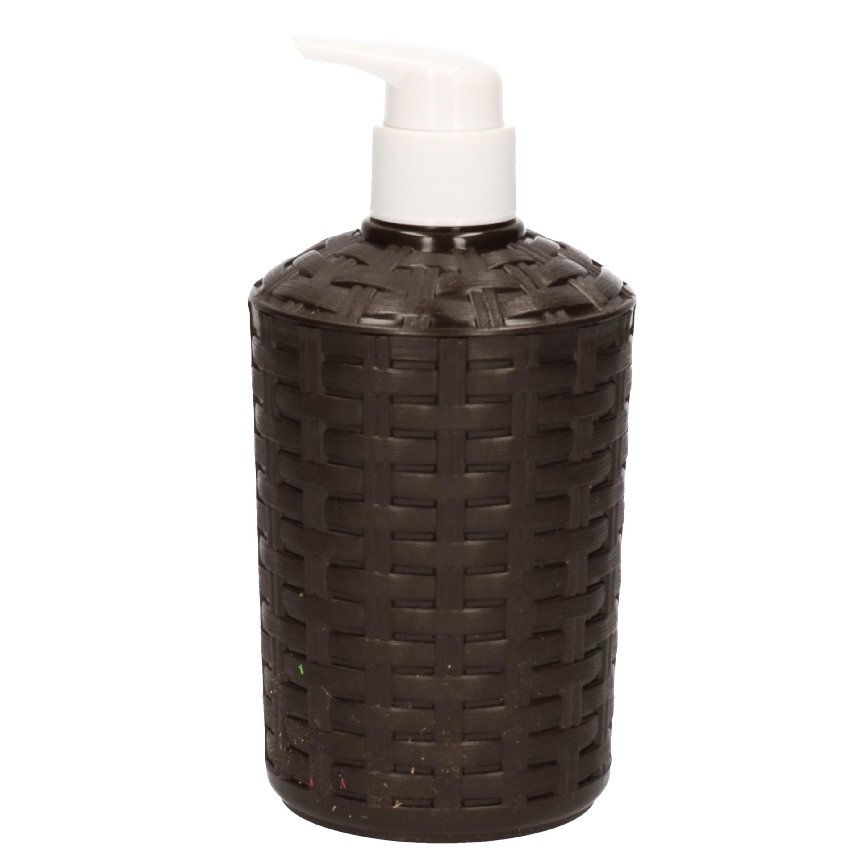 Zeep pompjes-dispensers zwart geweven 16 cm
