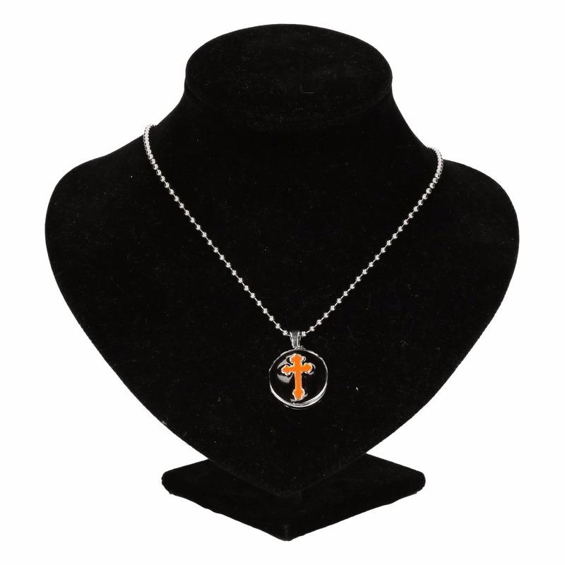 Zilveren bisschop medaillon oranje voor volwassenen
