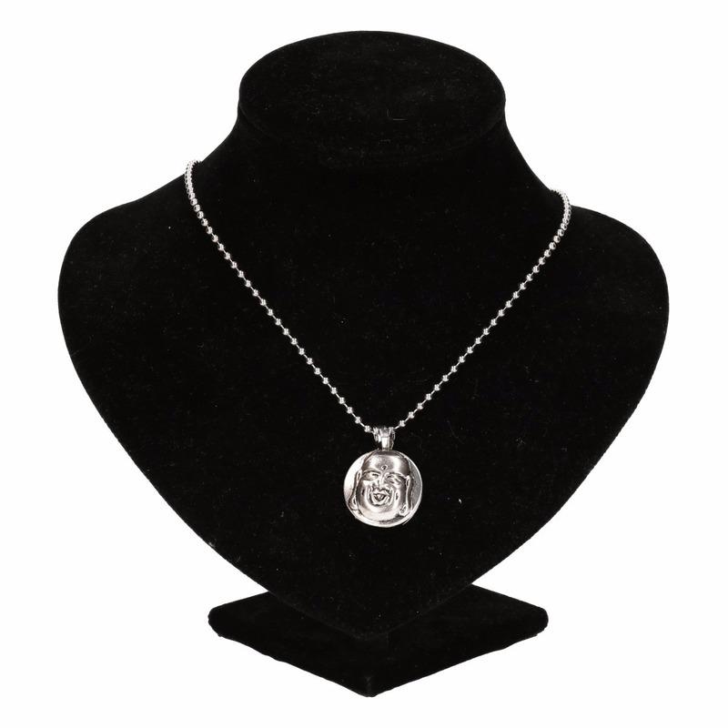 Zilveren boeddha medaillon voor volwassenen
