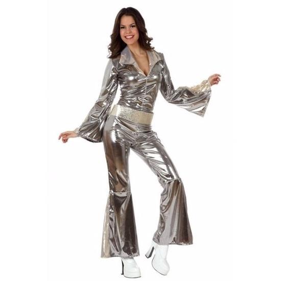 Zilveren disco jumpsuit verkleedkleding/kostuum voor dames