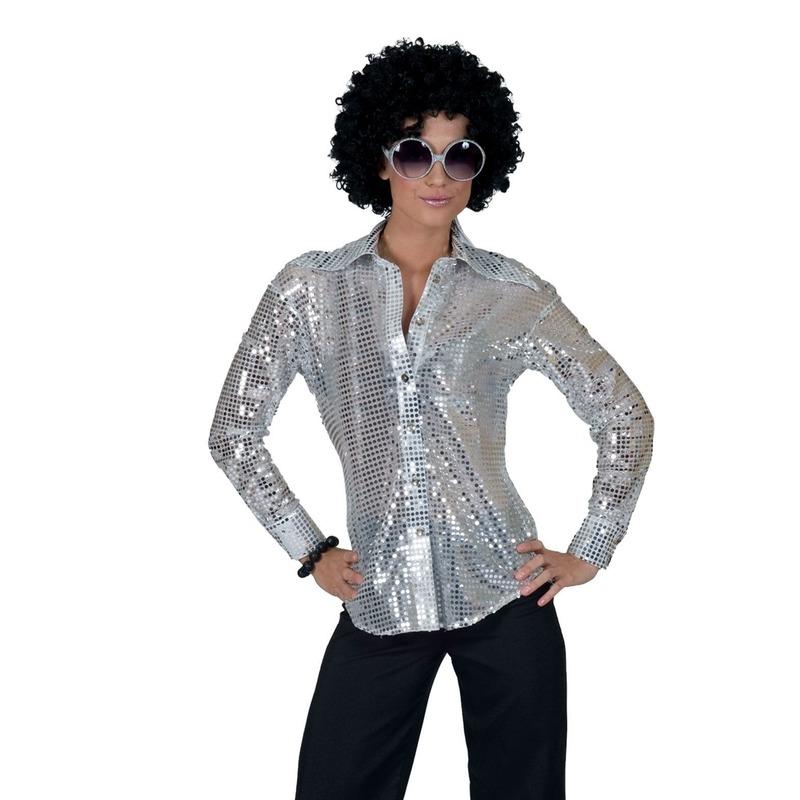Zilveren disco seventies verkleed blouse voor dames