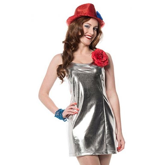 Zilveren disco stretch jurkje