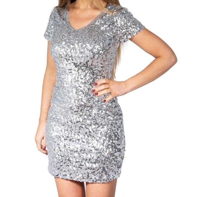 Zilveren glitter pailletten disco jurkje dames