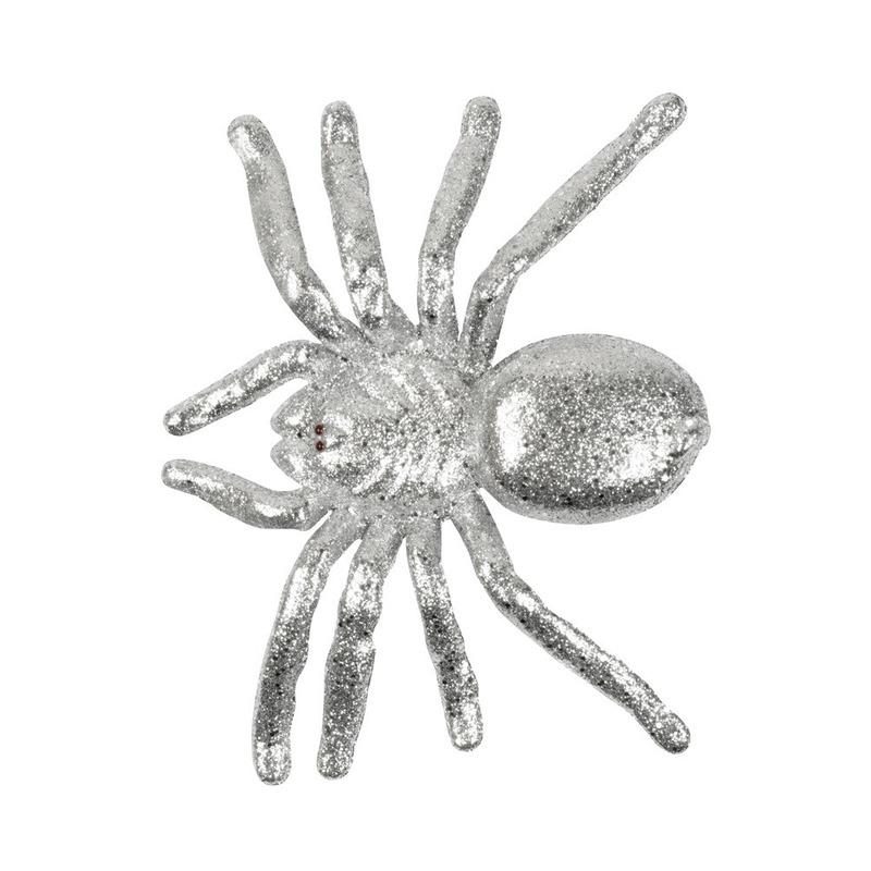 Zilveren grote halloween decoratie spin met glitters