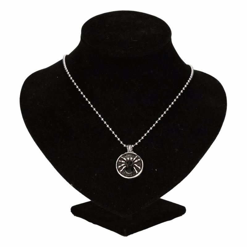Zilveren heksen medaillon zwart voor volwassenen
