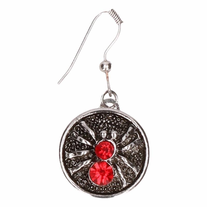 Zilveren heksen oorbellen rood voor volwassenen
