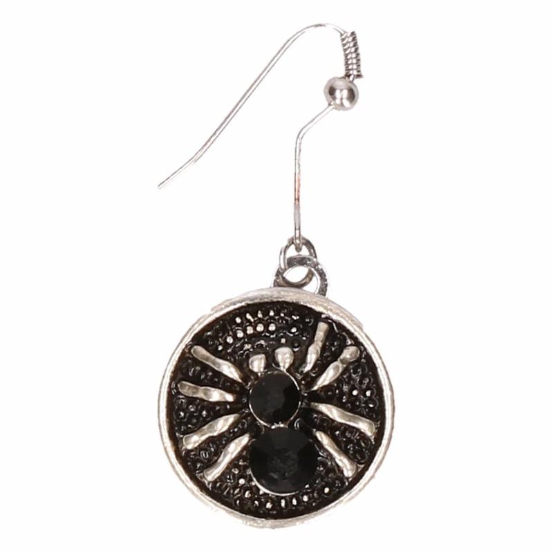 Zilveren heksen oorbellen zwart voor volwassenen