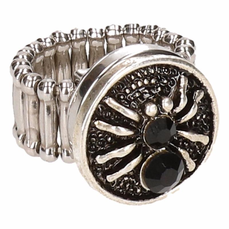 Zilveren heksen ring zwart voor volwassenen