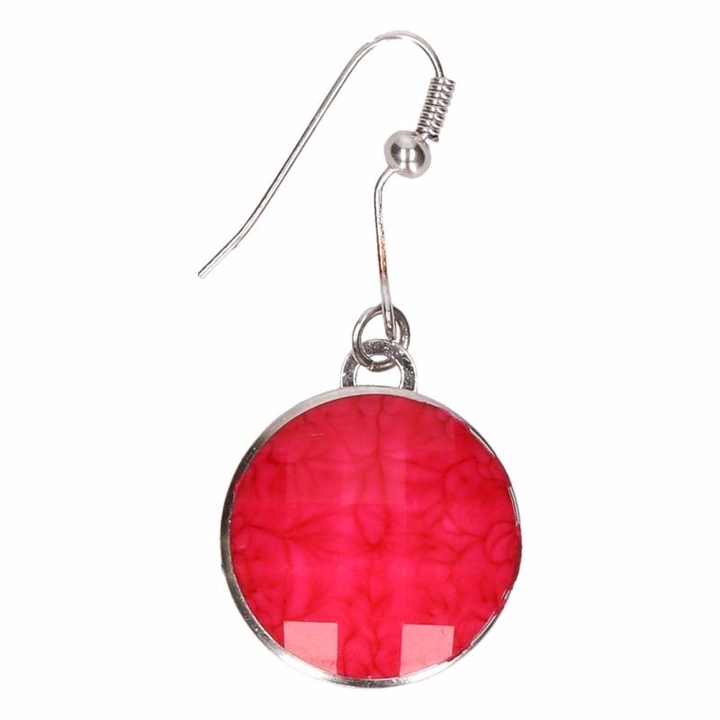 Zilveren oorbellen met roze steen voor volwassenen