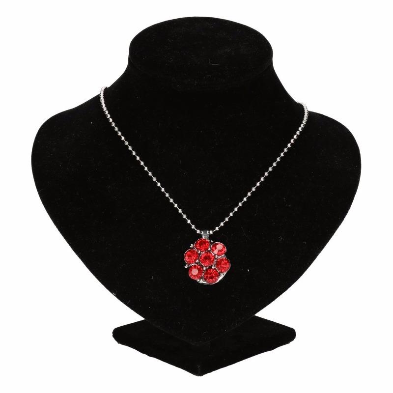 Zilveren prinsessen medaillon rode bloem voor volwassenen