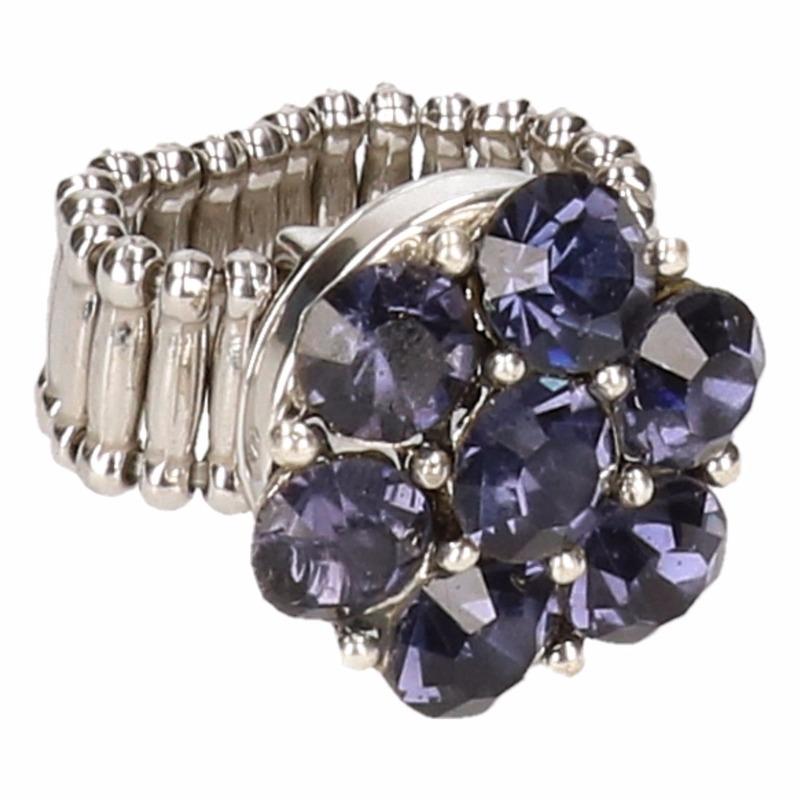 Zilveren prinsessen ring paarse bloem voor volwassenen