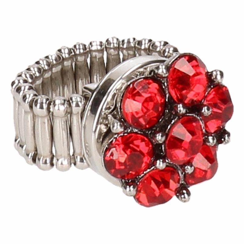 Zilveren prinsessen ring rode bloem voor volwassenen