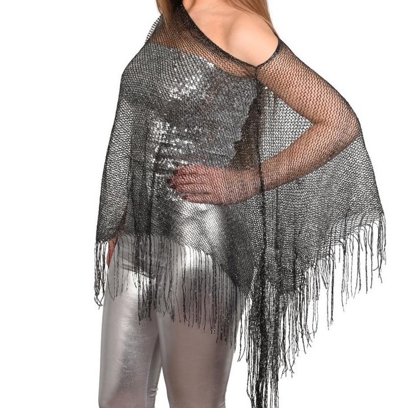 Zilveren visnet poncho/ omslagdoek/ stola dames