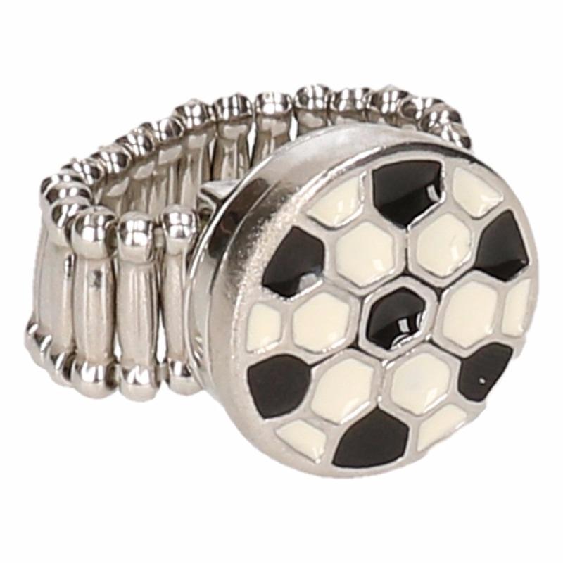 Zilveren voetbal supporter ring voor volwassenen