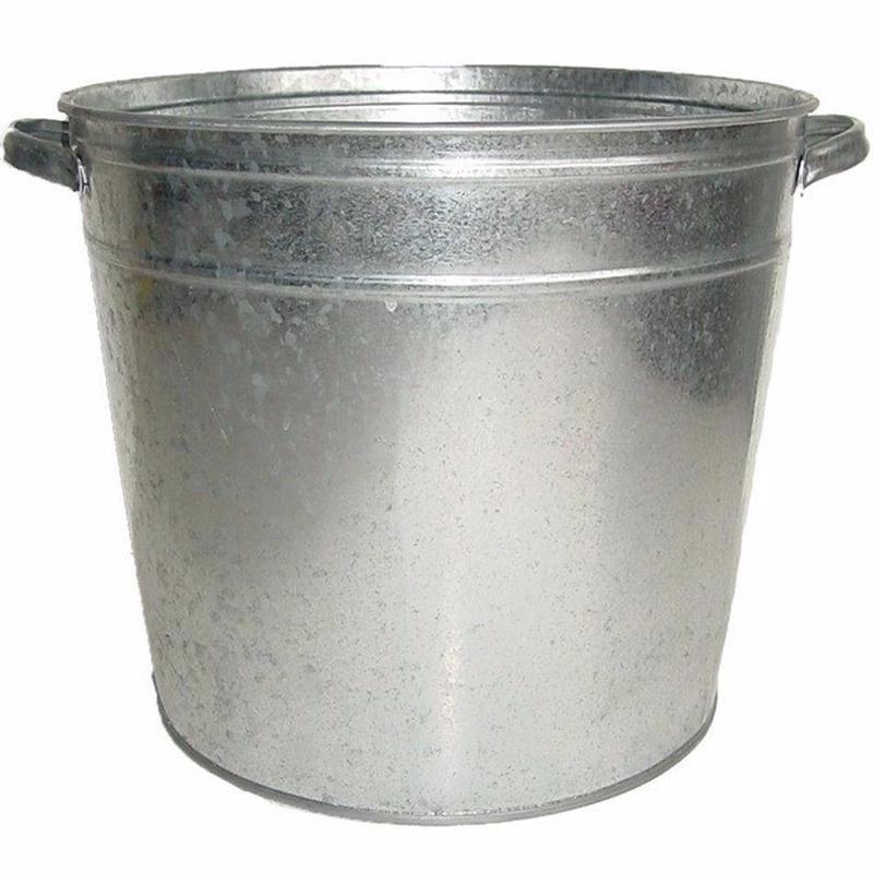 Zilveren zinken kuip emmer 37 liter