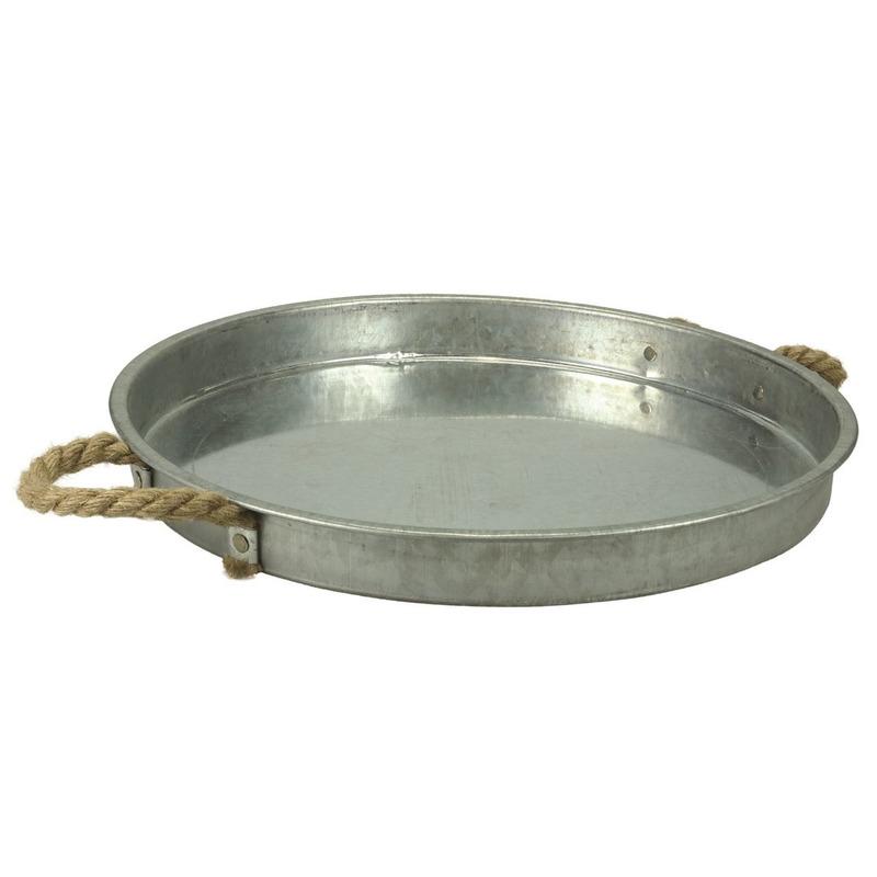 Zinken schaal/dienblad rond met touw handgrepen 39 cm Zilver