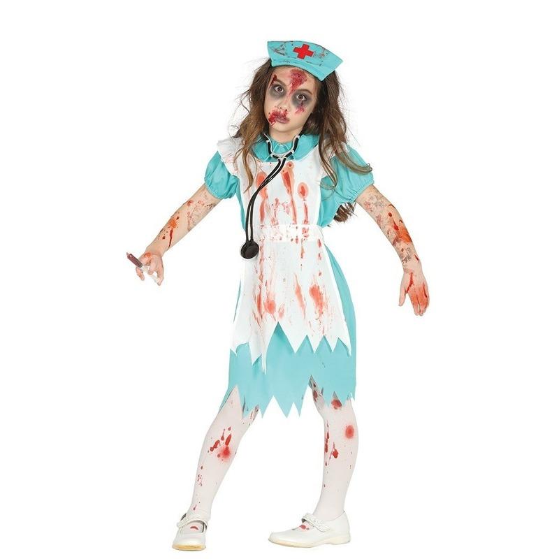 Zombie verpleegster/zuster verkleedkostuum voor meisjes 10-12 jaar (140-152) Multi