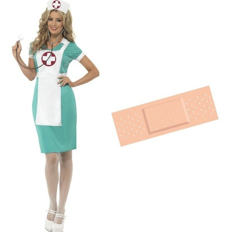 Zuster verkleed jurk dames 40/42 met gratis pleister sticker