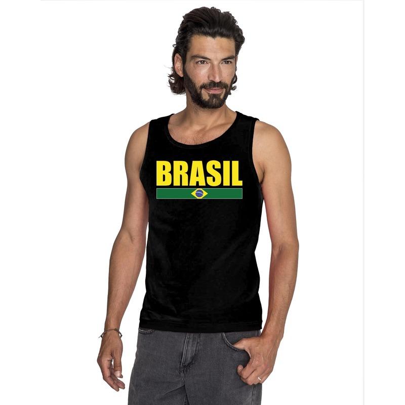 Zwart Brazilie supporter singlet shirt/ tanktop heren