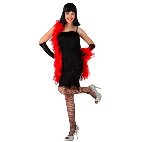 Zwart charleston flapper verkleed jurkje voor dames