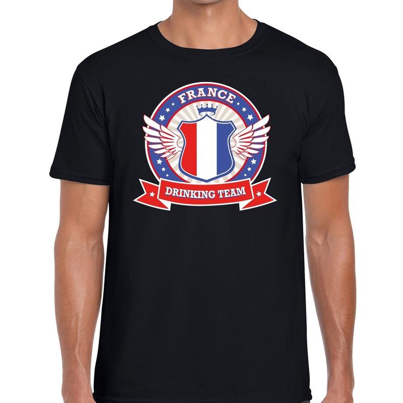 Zwart France drinking team t-shirt heren