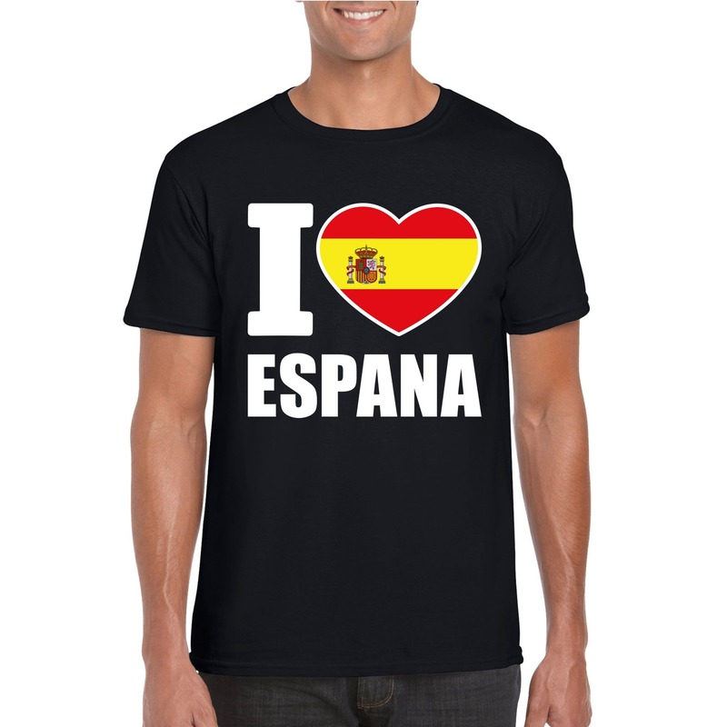 Zwart I love Spanje fan shirt heren