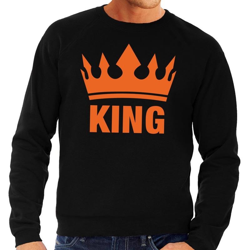 Zwart King en kroon sweater voor heren