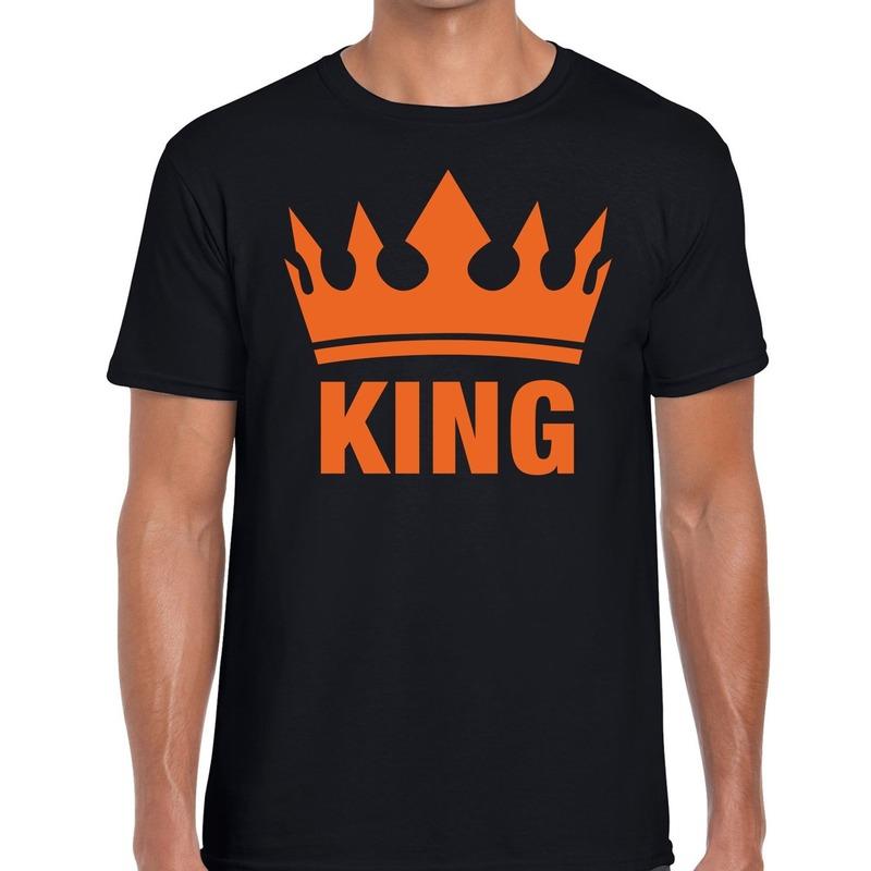 Zwart King en kroon t-shirt voor heren