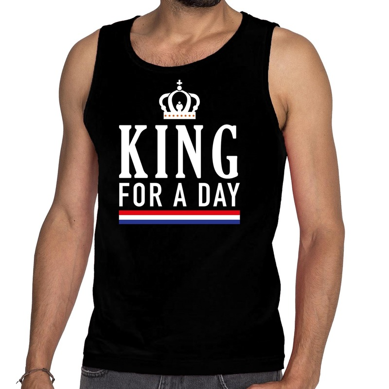 Zwart King for a day tanktop - mouwloos shirt voor heren