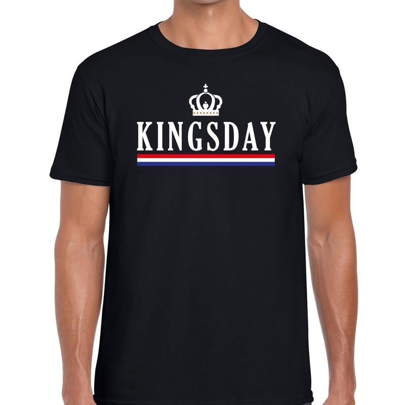 Zwart Kingsday met kroontje t-shirt voor heren