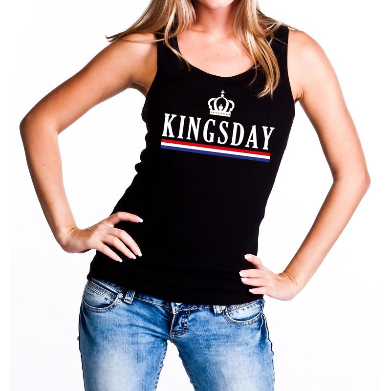 Zwart Kingsday tanktop - mouwloos shirt voor dames