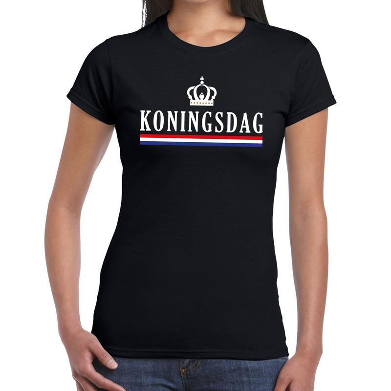 Zwart Koningsdagmet Hollandse vlag en kroontje t-shirt voor dame