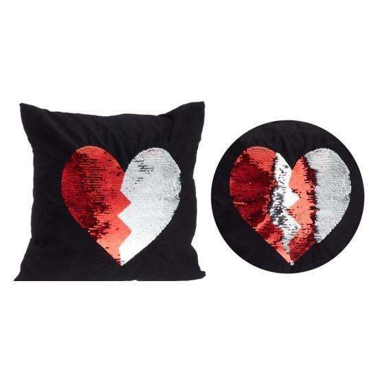 Zwart kussen met rood/witte omkeerbare pailletten 40 x 40 cm