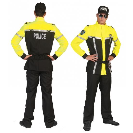 Zwart met geel politiepak voor heren