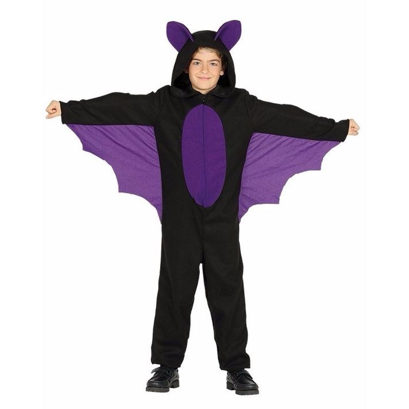 Zwart met paars vleermuis halloween kostuum voor jongens