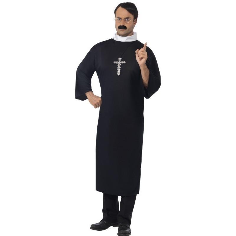Zwart priester kostuum voor heren