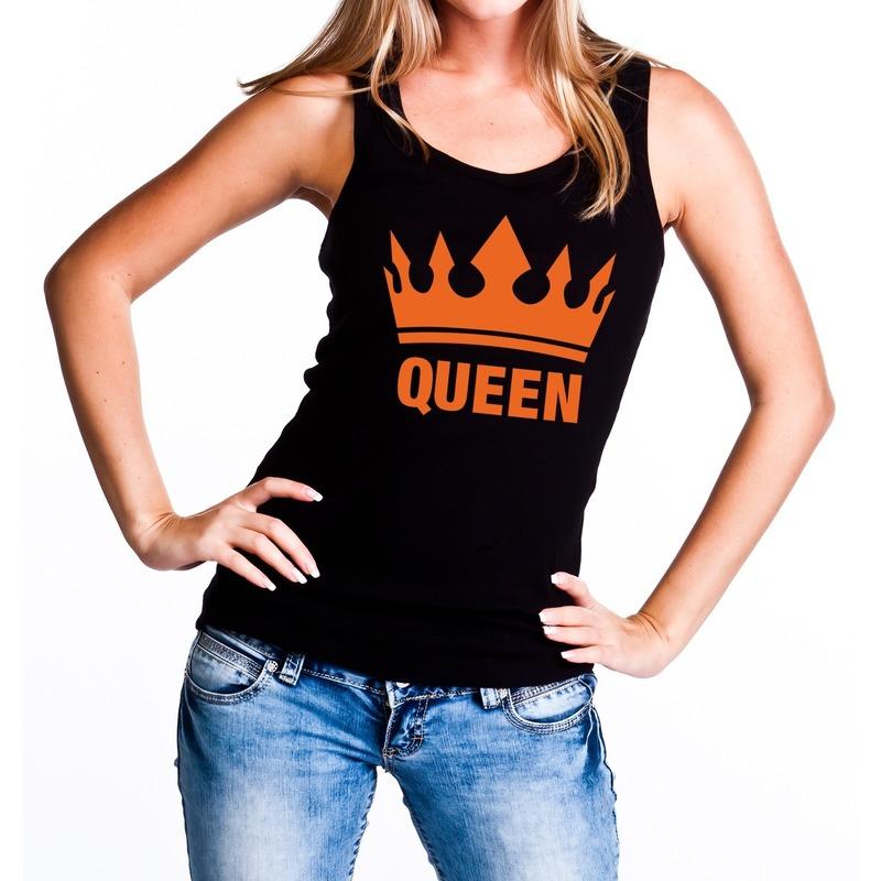 Zwart Queen met oranje kroon tanktop - mouwloos shirt dames