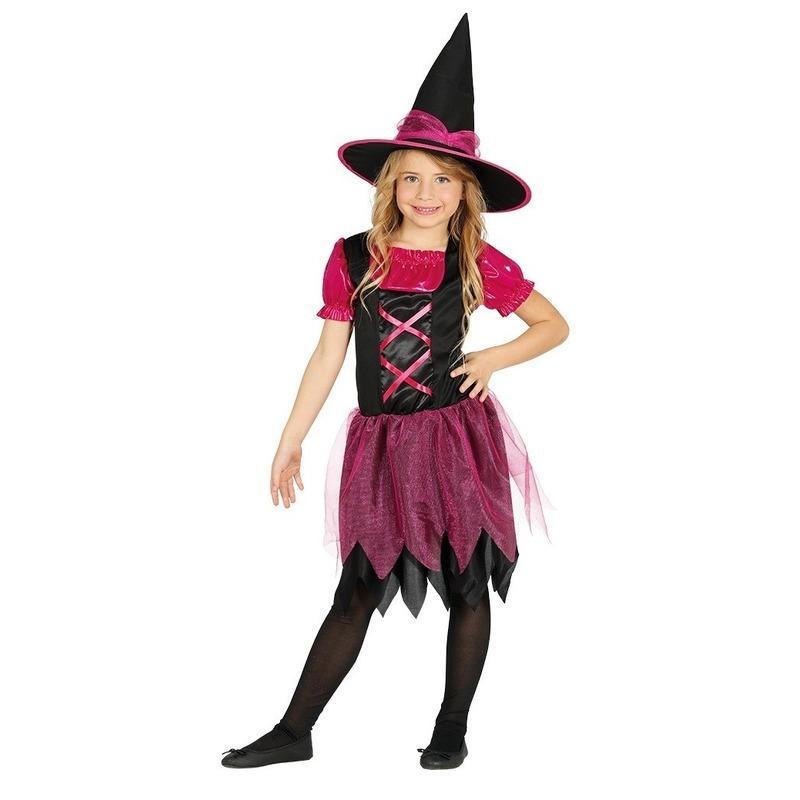 Zwart/roze heksen kostuum voor meisjes