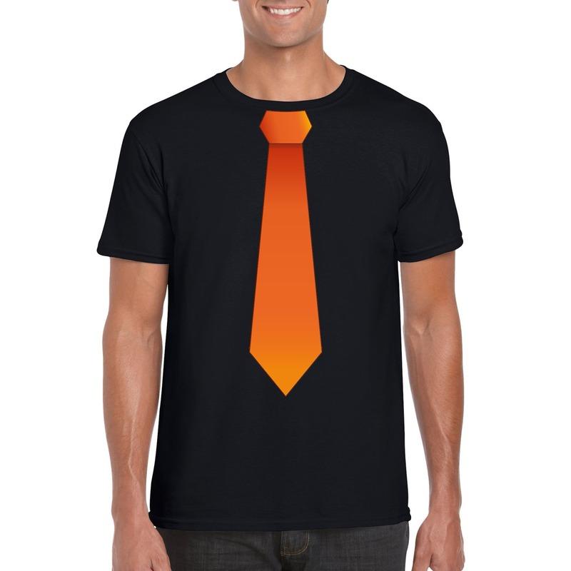 Zwart t-shirt met oranje stropdas heren
