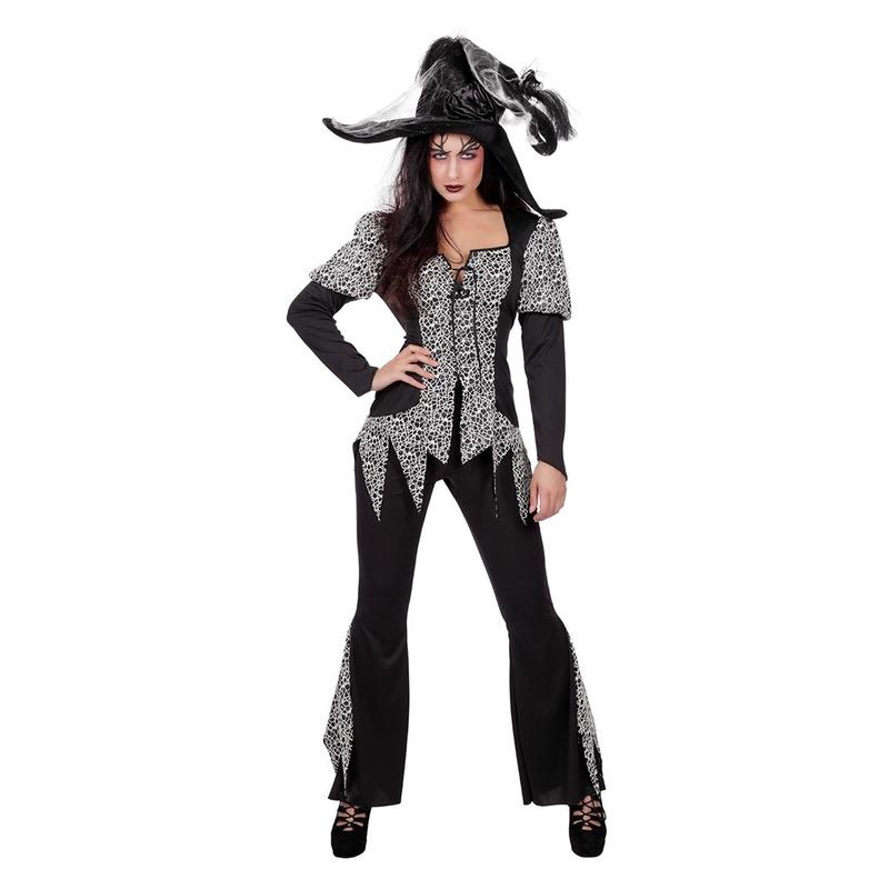 Zwart/wit heksen kostuum voor dames