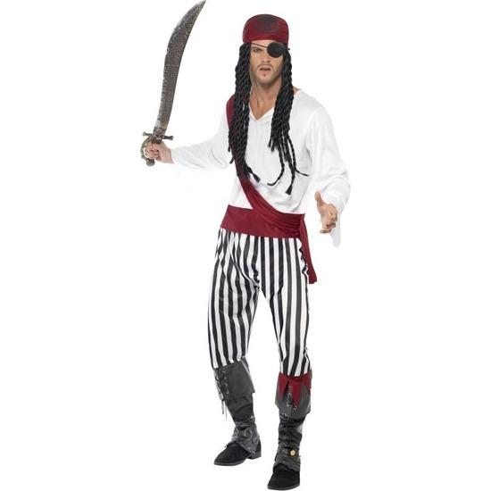 Zwart/wit piraten kostuum voor heren