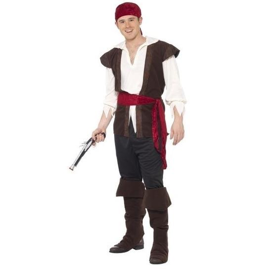 Zwart/wit/rood piraten kostuum voor heren